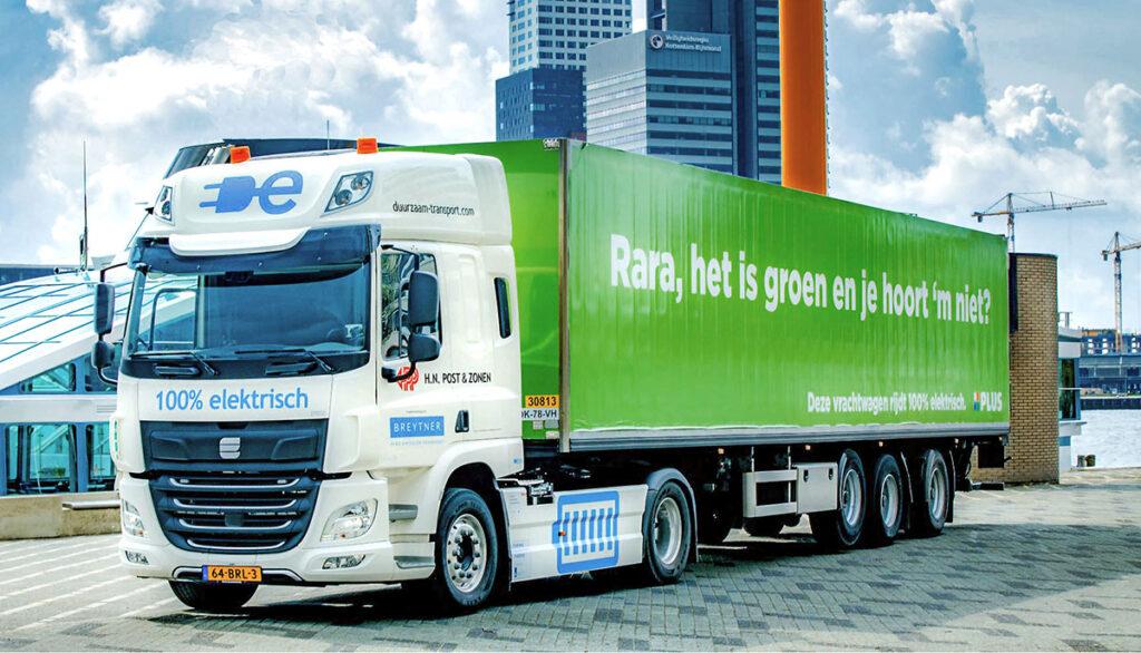 50-тонный автопоезд с электрическим тягачом
